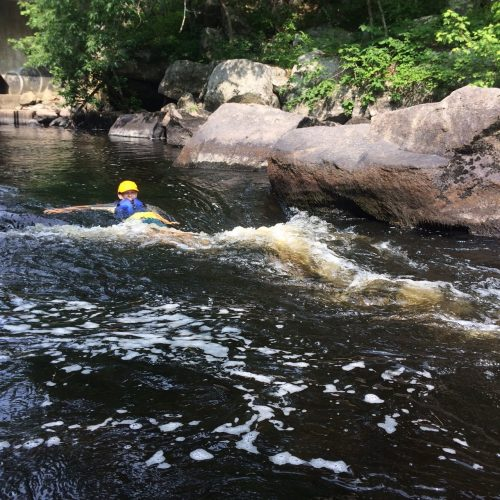 swimming through small rapids