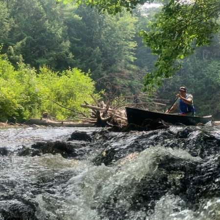 canoeing some small rapids