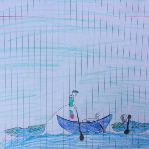 child drawing of kayaking
