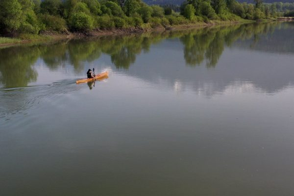 solo paddling expedition and social-engagement art project