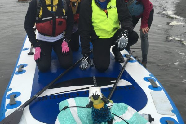 cleanup with a giant paddleboard