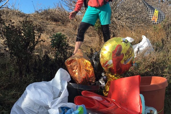 a mountain of trash pulled from the river