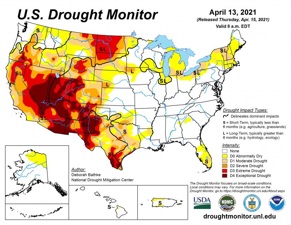 US Drought Conditions April 2021