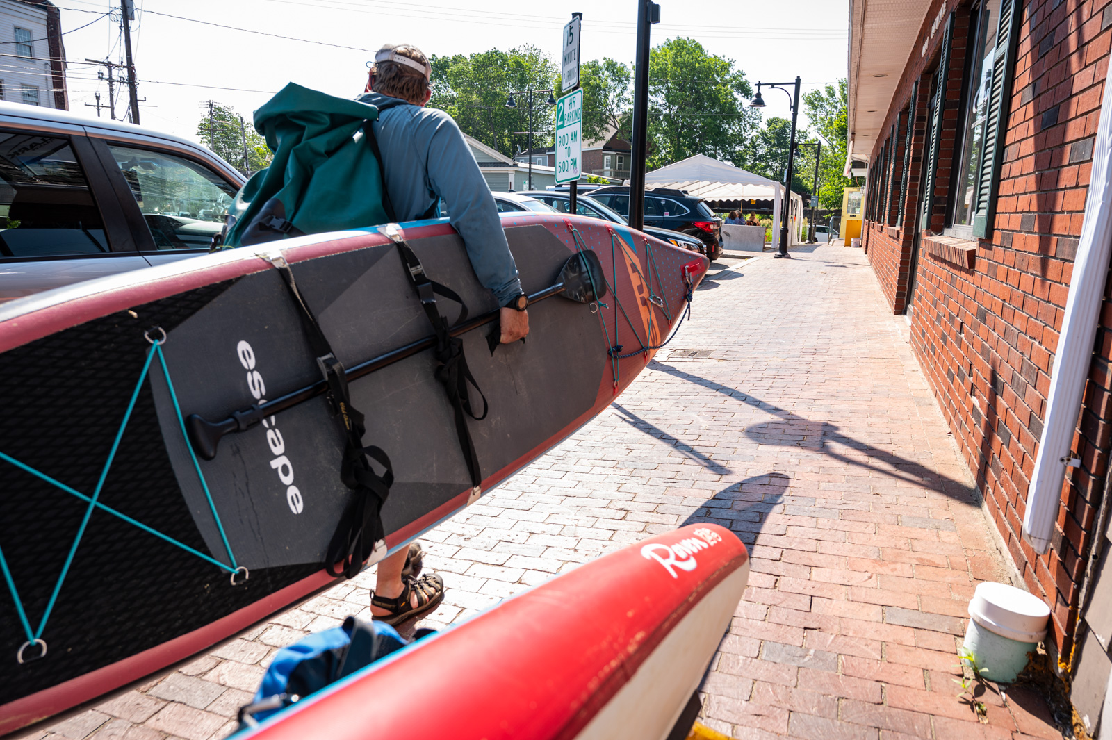 carrying a sup to the saco river